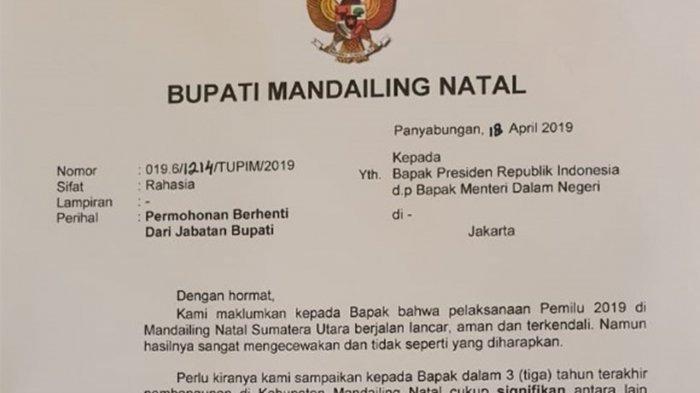 Beredar surat pengunduran diri Bupati Mandailing Natal (Madina), Dahlan Hasan Nasution. (Tribun Medan/Istimewa)