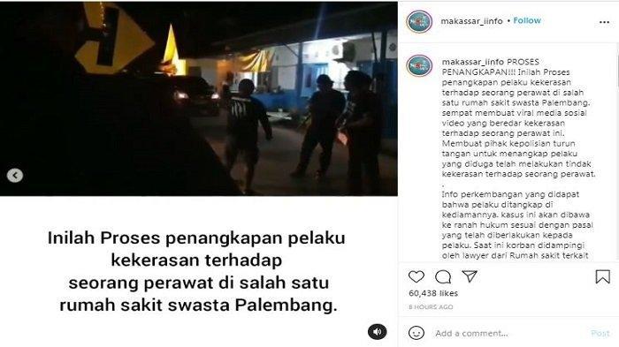 Unggahan Instagram/@makassar_iinfo tentang proses penangkapan JT, pelaku penganiayaan perawat di RS Siloam Sriwijaya, Palembang, Jumat (16/4/2021) malam.