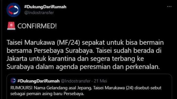 Pemain asal Jepang, Taisei Marukawa dikabarkan sudah mencapai kata sepakat untuk gabung dengan Persebaya Surabaya, dalam unggahan akun Twitter @Indostransfer, Selasa (25/5/2021).