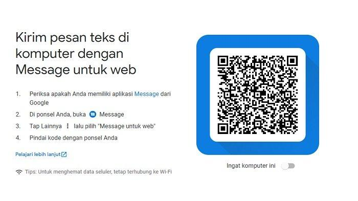 Tampilan pindai QR Code di Messages by Google