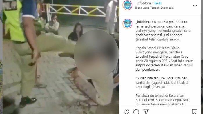 Viral Satpol PP Tendang Pemuda Mabuk di Blora, Teman Korban Tak Berani Melawan, Begini Nasib Pelaku