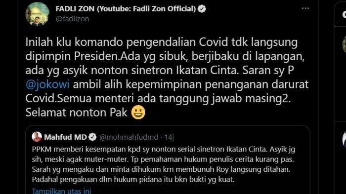 Tangkapan layar Sindiran Fadli Zon kepada Mahfud MD, Kamis (15/7/2021).