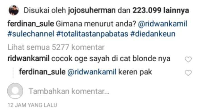 Komentar Ridwan Kamil dalam unggahan komedian Sule.