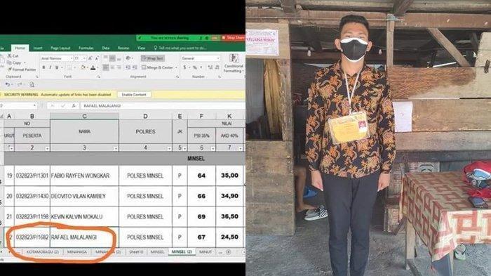 Tangkapan layar daftar pengumuman siswa lulus Calon Bintara Polri 2021 (kiri), dan Rafael Malalangi (kanan).