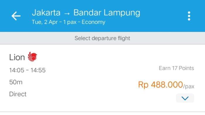 Tarif tiket pesawat Lion Air Jakarta - Lampung pada 2 April 2019.