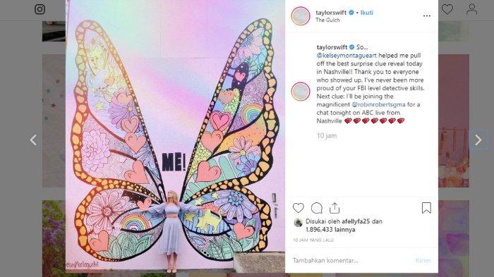 Taylor Swift memberikan petunjuk untuk lagu 'Me' di akun Instagramnya, @taylorswift.