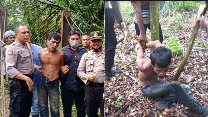 Tersangka Samsul saat ditangkap aparat gabungan dan masyarakat di kawasan hutan sekitar lapangan bola kaki Gampong Alue Gadeng Kampung, Minggu (11/10/2020) pagi.