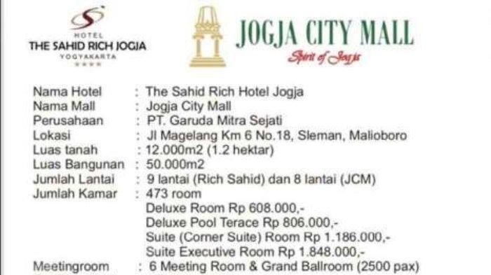 The Sahid Rich Jogja Dikabarkan Dijual, Begini Penjelasan Sahid Group