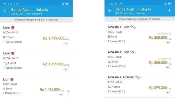 Perbandingan harga tiket Banda Aceh - Jakarta dengan Lion Air (transit Kuala Namu) dan Air Asia (Transit Kuala Lumpur), untuk tanggal Selasa 22 Januari 2019. (Capture Situs Traveloka)