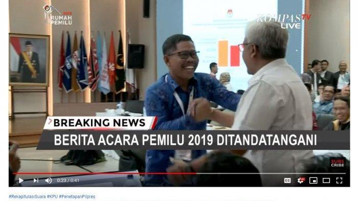 Video Saksi TKN dan BPN Berpelukan setelah KPU Tetapkan Hasil Pilpres, Peserta Rapat Bertepuk Tangan