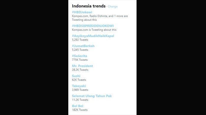 Tagar untuk ucapan selamat ulang tahun bagi Jokowi yang menghiasi linimasa Twitter.