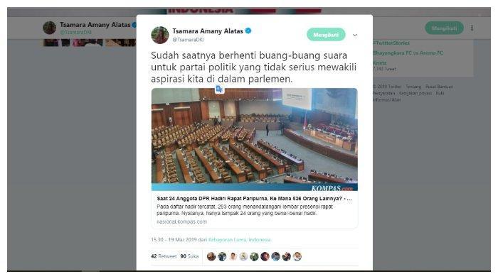 Kicauan Tsamara Amany saat mengetahui ratusan anggota DPR yang tidka menghadiri Rapat Paripurna, Selasa (19/3/2019).