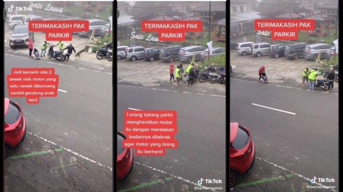 Viral Video Tukang Parkir Relakan Badannya Ditabrak demi Selamatkan Pemotor yang Alami Rem Blong