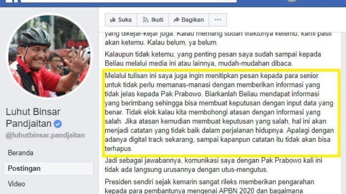Tulisan Luhut soal Prabowo di Facebook,