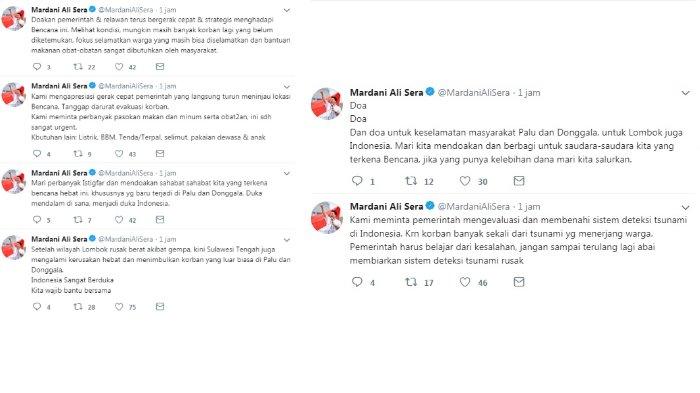 Twit Mardani Ali Sera apresiasi gerak cepat pemerintah, Senin (1/10/2018)