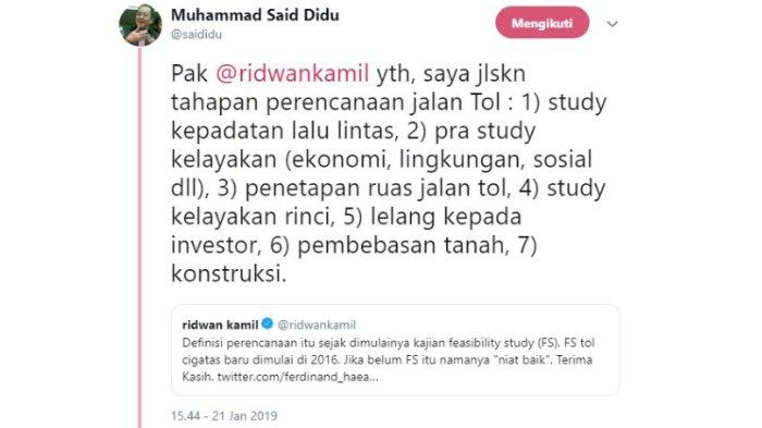Capture twit Said Didu, Senin (21/1/2019).