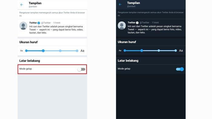 Cara mengubah tampilan latar Twitter menjadi 'dark mode'.