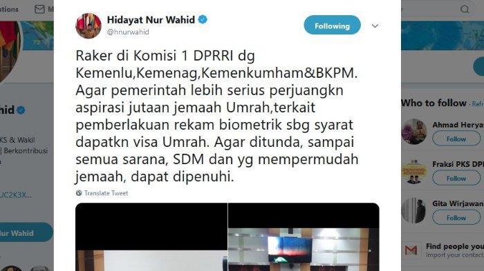 Capture Twitter @hnurwahid, Senin (21/1/2019)