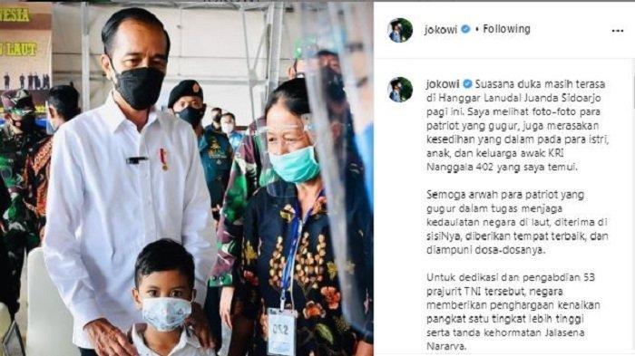Unggahan Presiden RI Joko Widodo (Jokowi), Kamis (29/4/2021), saat mengadakan silaturahmi dengan keluarga awak KRI Nanggala 402.