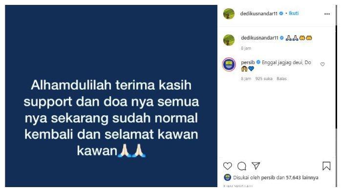 Unggah dalam akun Instagram pribadi pemain Persib Bandung Dedi Kusnandar, @dedikusnandar11, Selasa (20/4/2021).