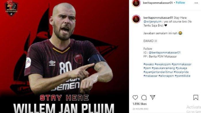 Unggahan akun Instagram @beritapsmakassar01, Senin (3/5/2021) terkait masa depan Wiljan Pluim di PSM Makssar.