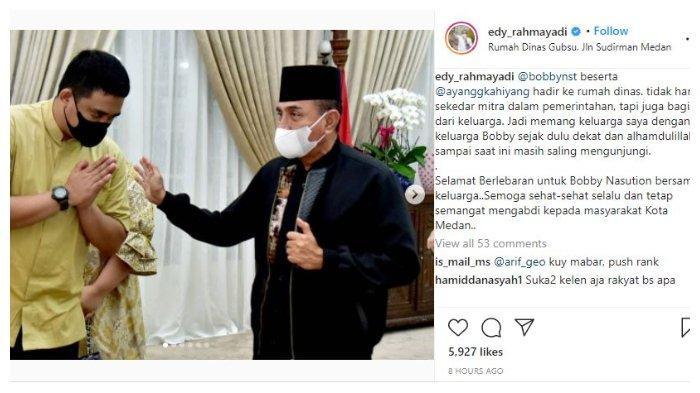 Unggahan akun Instagram Gubernur Sumatera Utara, Edy Rahmayadi, Jumat (14/5/2021).