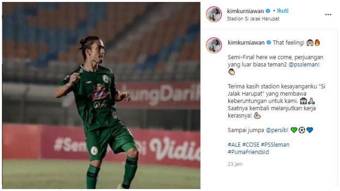 Unggahan akun Instagram pemain PSS Sleman Kim Kurniawan, Selasa (13/4/2021).