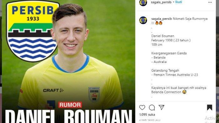 Pemain asal Australia Daniel Bouman dikaitkan dengan Persib Bandung, dalam unggahan akun Instagram @sagala_persib, Senin (17/5/2021).