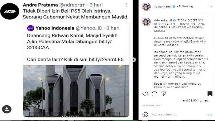 Unggahan akun Instagram/@ridwankamil, Sabtu (17/4/2021). Gubernur Jawa Barat Ridwan Kamil mengomentari soal desain Masjid Syeikh Ajlin yang disebut-sebut mirip PS 5.