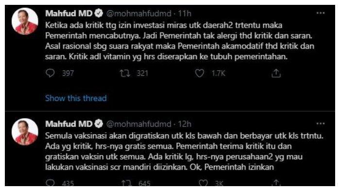 Unggahan akun Twitter pribadi Menteri Koordinator Bidang Politik, Hukum dan Keamanan (Menko Polhukam), Mahfud MD, @mohmahfudmd, Rabu (3/2/2021).