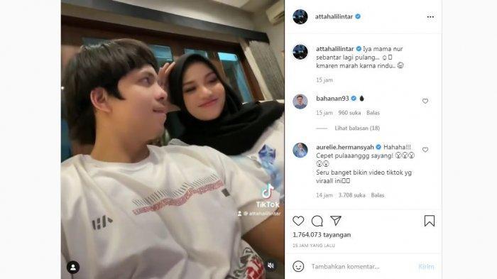 Unggahan Atta Halilintar saat bermesraan dengan istrinya, Aurel Hermansyah, Rabu (30/6/2021).