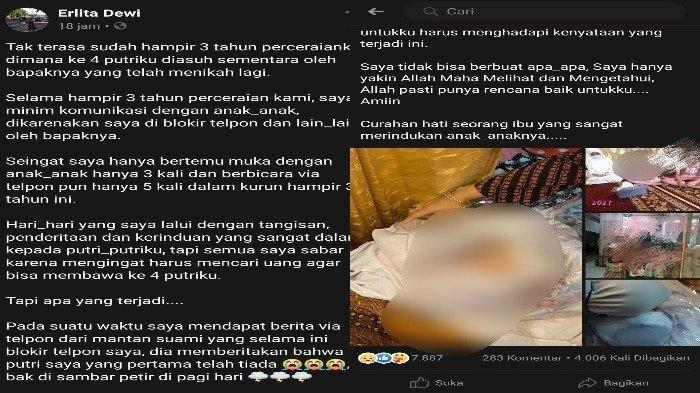 Unggahan Facebook Erlita Dewi ditumpahkan di media sosial Facebook tentang kematian Agitha Cahyani Putri alias AP, telah dibagikan lebih dari 4 ribu kali dan dibanjiri komentar haru.