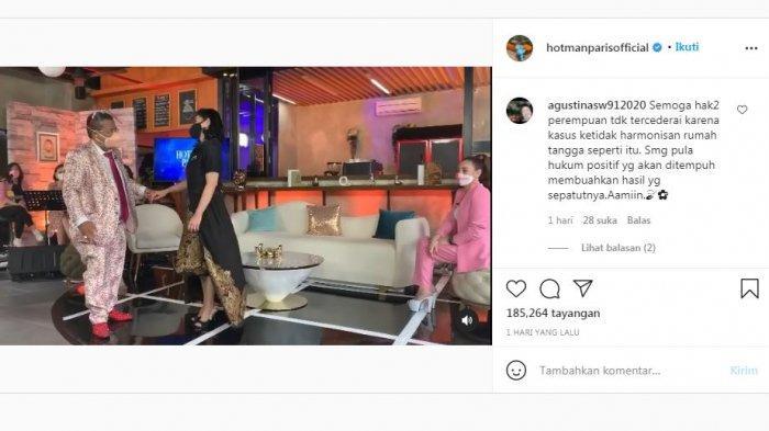 Unggahan Hotman Paris di Instagram yang menampilkan sosok Desiree Tarigan ibu Bams eks Samsons, Senin (20/9/2021).