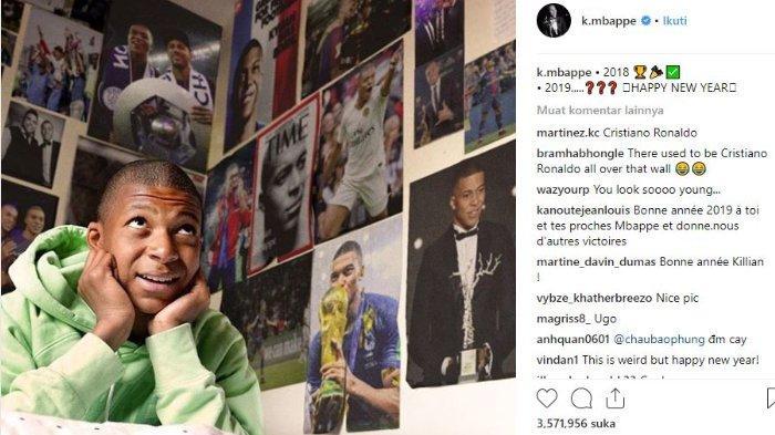 Unggahan Instagram Kylian Mbappe yang menunjukkan puluhan poster dengan wajahnya, Selasa (1/1/2019).