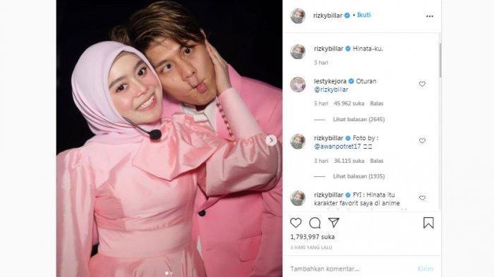 Unggahan Instagram aktor Rizky Billar yang berfoto bersama Lesti Kejora, Minggu (25/10/2020).