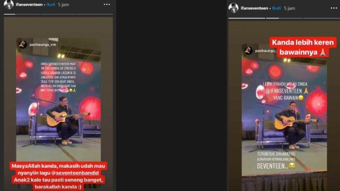 Unggahan Instagram Story Ifan Seventeen, Minggu (30/12/2018).