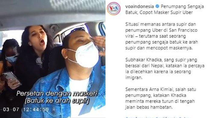 Unggahan Instagram @voaindonesia, Sabtu (20/3/2021). Sopir taksi online, Subhakar Khadka merekam perlakuan penumpangnya yang tidak sopan batuk-batuk seusai diingatkan untuk menggunakan masker, 7 Maret 2021.