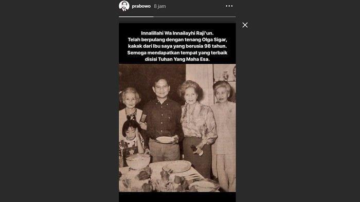 Unggahan Instastory Prabowo Subianto di akun Instagramnya, Selasa (14/5/2019).