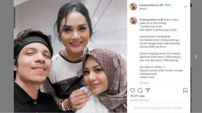 Unggahan Krisdayanti saat momen bersama Atta Halilintar dan Aurel Hermansyah, Selasa (11/5/2021).