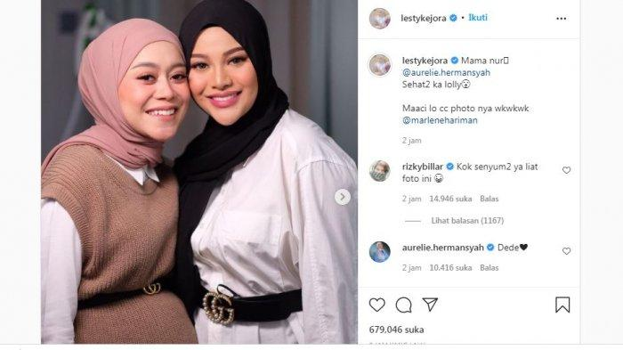 Unggahan Lesti Kejora memamerkan kebersamaannya dengan Aurel Hermansyah, Rabu (29/9/2021).