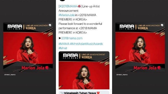 Penyanyi jebolan Indonesian Idol, Marion Jola mengungkapkan rasa syukurnya menjadi bintang tamu di ajang MAMA 2018.