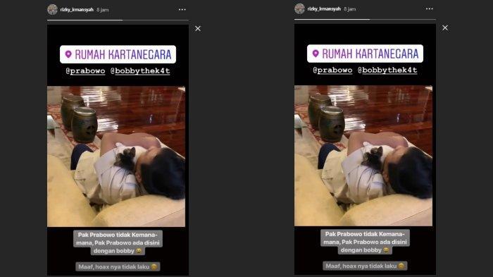 Unggahan pengawal pribadi Prabowo, Sabtu (18/5/2019)