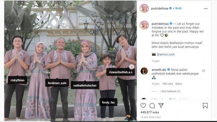 Unggahan Putri Delina yang memajang foto keluarga Sule saat Lebaran, Kamis (13/5/2021).
