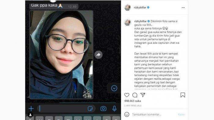 Unggahan Rizky Billar di media sosial yang memajang foto Lesti Kejora, Jumat (23/7/2021). Rizky Billar mengaku batal mengadakan akad nikah dengan Lesti Kejora hari ini.