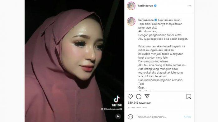 Unggahan selebgram Herlin Kenza soal dugaan timbulkan kerumunan di pasar Lhokseumawe, Aceh saat pandemi Covid-19, Selasa (20/7/2021).