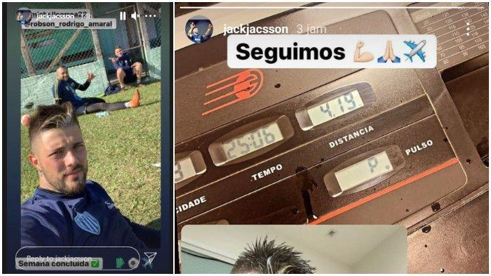 Unggahan story Instagram kiper asal Brasil yang dikabarkan akan gabung Arema FC, Jacsson Antonio Wichnovski pada Sabtu (15/5/2021).