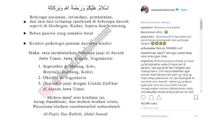 Unggahan Ustaz Abdul Somad pada Instagram