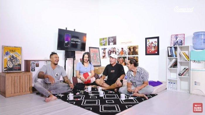 Uus (kiri), Anya Geraldine, Gading Marten dan Andhika Pratama, Rabu (10/3/2021).