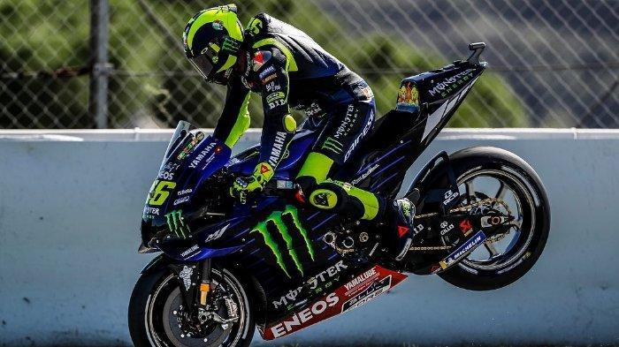 Valentino Rossi saat balapan di MotoFP Spanyol, di Circuit de Barcelona-Catalunya, Minggu 19 Juli 2020.