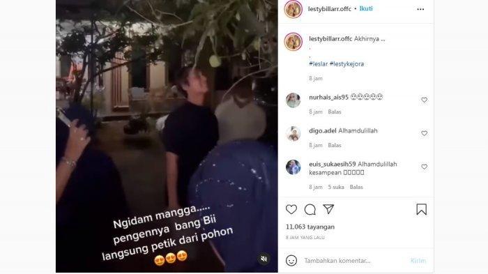 Video rekaman saat Rizky Billar memetik mangga untuk Lesti Kejora, diunggah Kamis (13/10/2021).
